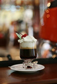 Coffee with ice-cream and cherry — Stock Photo
