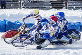 Speedway on ice.The confrontation between three riders — Stock Photo