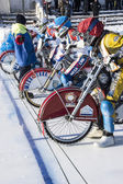 Speedway on ice. A second before the start — Foto Stock