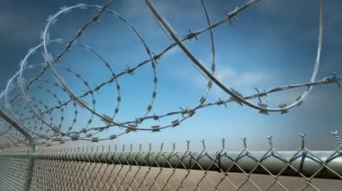Barbed wire fence loopable animation.HD — Stock Video
