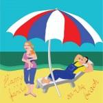 Family on the beach — Stock Vector