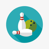 Bowling game flat icon with long shadow — Vetor de Stock