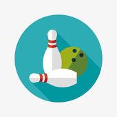 Bowling spel flat ikonen med långa skugga — Stockvektor