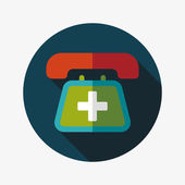 Emergency call flat icon with long shadow — Stock Vector