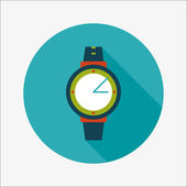 Wristwatch flat icon with long shadow — Stock Vector
