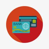 Carta di credito piatto icona con lunga ombra — Vettoriale Stock