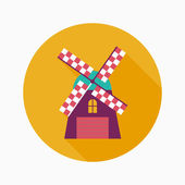 Windmill flat icon with long shadow — Cтоковый вектор