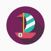 Sailboat flat icon with long shadow — Stockvektor