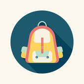Backpack flat icon with long shadow — Stock Vector