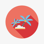 Palm tree flat icon with long shadow — Stock Vector