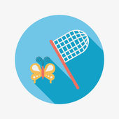Butterfly net flat icon with long shadow — Stock Vector