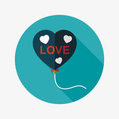Love balloons flat icon with long shadow,eps10 — Vecteur