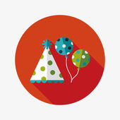 Birthday hat and balloons flat icon with long shadow,eps10 — Vector de stock
