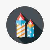 Candle flat icon with long shadow,eps10 — Stockvector