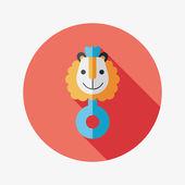 Baby rassel flache icon mit langen schatten, eps10 — Stockvektor