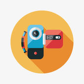 Video camera flat icon with long shadow — Stock Vector