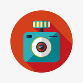 Camera flat icon with long shadow — Stock Vector