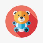 Teddy bear flat icon with long shadow,eps 10 — Stock Vector