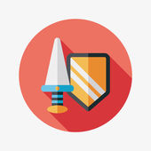 Sword and Shield flat icon with long shadow,eps 10 — Stock Vector