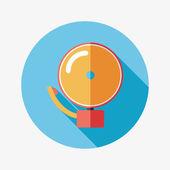 Ikona dzwonka płaska długi cień, eps10 alarmu — Wektor stockowy