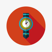 Watch flat icon with long shadow,eps10 — Vector de stock