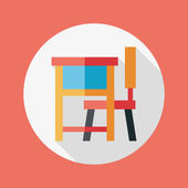 Vintage school desk flat icon with long shadow,eps10 — Vetorial Stock