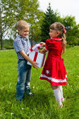 Girl Gives Her Brother   Gift   at the Park. — Stock Photo