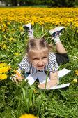Happy  Girl  in summer Garden. — Stock Photo