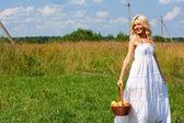 Girl in a white sundress — Stock Photo
