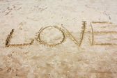 The inscription on the sand — Stock Photo