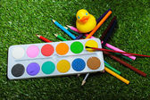 Painting set for young schoolboy — Stock Photo
