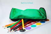 School pencil case with colored pencils — Stock Photo