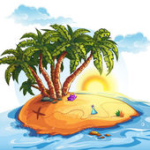 Illustration island with palm trees and treasures — Stock Vector