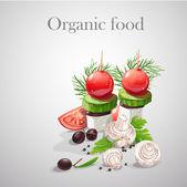 Fondo con las verduras frescas, tomates, champiñones, aceitunas-ep — Vector de stock