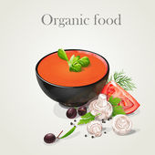 Tomato soup with fresh vegetables-EPS10 — Stock Vector