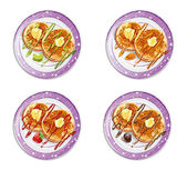 Set of pancakes with sauces-EPS10 — Stock Vector