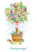 Festive postcard with Easter eggs and baskets-EPS10 — Stock Vector
