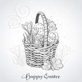 Cartão de páscoa com uma cesta e flowers.vintage — Vetor de Stock