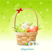 Happy Easter card and a basket with Easter eggs-EPS10 — Stock Vector