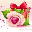 Card for Valentine's Day pink rose with green box-EPS10 — Stock Vector