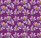 Seamless background flowers crocus — Stock Vector