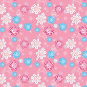 Seamless pattern of flowers on a pink background for childrenEPS — Stock Vector