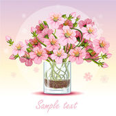 Background with cherry blossom in a glass — Stock Vector