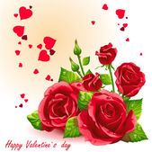 Kort för alla hjärtans dag röda rosor-eps10 — Stockvektor