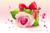 Card for Valentine's Day pink rose with green box-EPS10 — Stockvektor