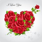 Kırmızı güller-eps10 kalbinde Sevgililer günü kartı — Stok Vektör