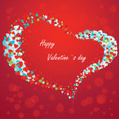 Valentine card with hearts on a red background — Vector de stock