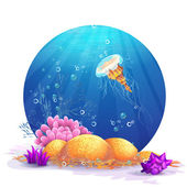 Underwater rocks with seaweed and fish fun — Stock Vector