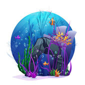 Underwater rocks with seaweed and fish fu — Stock Vector