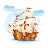 Sailing ship of Spain, XV century — Stock Vector